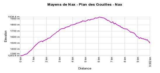 Profil de dénivelé: Mayens de Nax - Plan des Gouilles - Nax