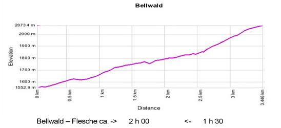 Höhenprofil: Bellwald - Mutti - Flesche